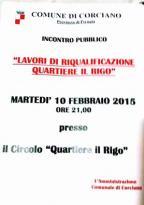 Il 10 febbraio si parlerà dei lavori di riqualificazione del Rigo