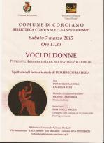 Voci di Donne il 7 marzo alla Biblioteca Rodari