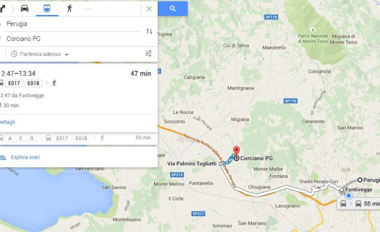 Ecco il servizio Google che censisce il trasporto pubblico, ma da Perugia a Corciano ci vogliono 50 minuti