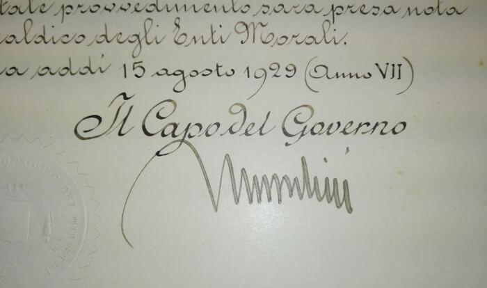 Dagli archivi spunta l'autorizzazione allo Stemma Civico. Era il 1929 ed a firmarlo fu Mussolini