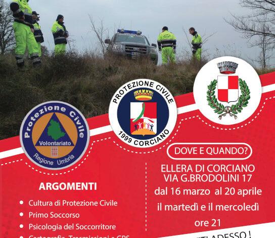 corso diventa volontario emergenze programma protezione civile volontario corciano-centro ellera-chiugiana