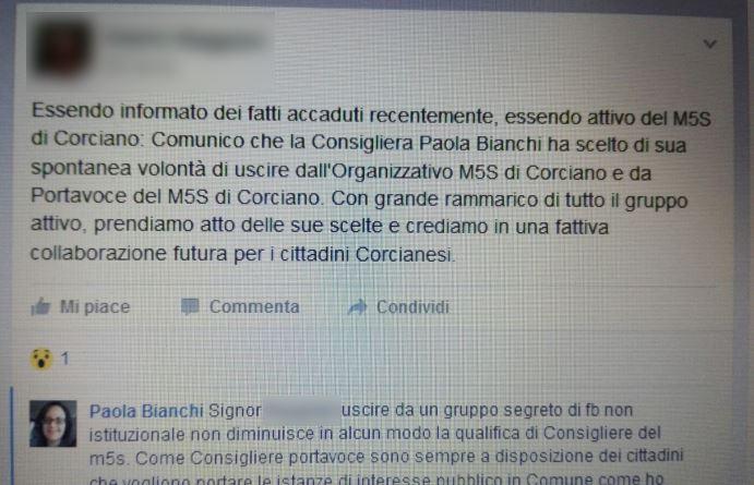 """CorcianoLeaks: esce dal gruppo segreto di Facebook, consigliera comunale M5S """"invitata"""" a dimettersi"""