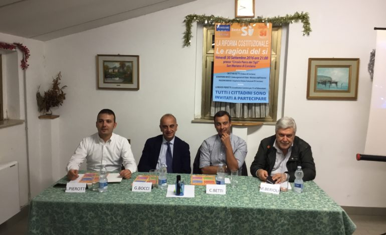 adesso per il si costituzione dibattito pd referendum renzi corciano-centro glocal politica san-mariano