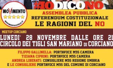 M5S Corciano: il 28 novembre appuntamento per le ragioni del No
