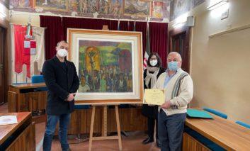 """Importante donazione a Corciano, il Comune riceve il quadro di Arturo Checchi """"La Processione"""""""